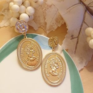 Antique Style//European Coins Queen Droo Earrings